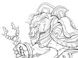 Worgen Priest Lineart by Departedpro