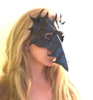 Long Nose Black Leather Mask by teonova