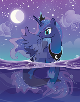 Princess Luna Merpony by inki-drop