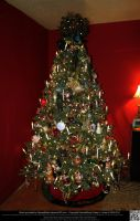 Elaborately Decorated Christmas Tree Without Gifts by DamselStock
