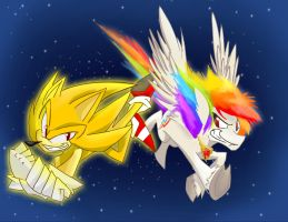 super Sonic and super Rainbow Dash by Belen-1999