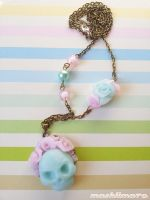 Ice Skull with Ice Roses Necklace by mashlimaro