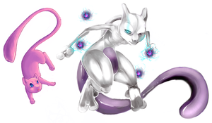 Mew and Mewtwo by PkingSora