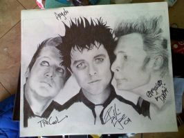 Green Day:inc.band autographs: by AngelaDeville