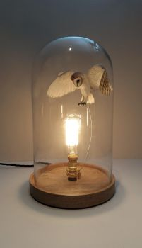 Handmade papr and wood barn owl Belljar light by ZackMclaughlin