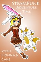 SteamPunk Fionna and Cake by Auzie-Angel