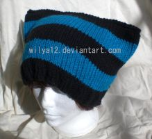 Black and turquoise neko cap by Wilya12