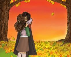 Harry and Hermione autumn hug by rjade829