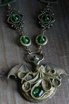 Steampunk necklace with Cthulhu pendant by CatherinetteRings