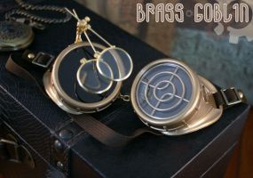Brilliant Gold Steampunk Goggles by brassgoblin