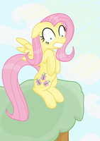 Fluttershy on a hilltop by transparentpony