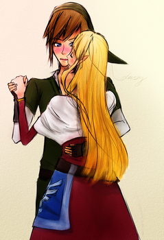 Link and Zelda by DisSizDaisy