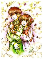Sakura Syaoran and the bear by Lumaga