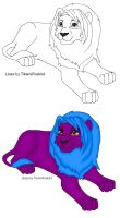 MS Paint Ready Lion Lineart by TikamiHasMoved