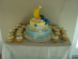 Moon and Star Baby Shower Cake by mel312