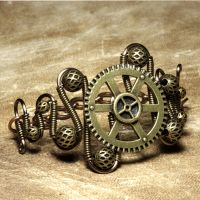 Gunmetal steampunk Bracelet by CatherinetteRings