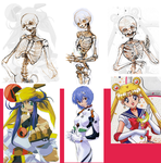 Anime girl skeletons by Barukurii
