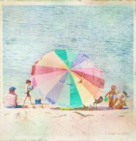 vintage: umbrella on the beach by Moon-Willow