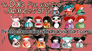 Dolls Japanese Style Png and Ico by KawaiiozziithaH