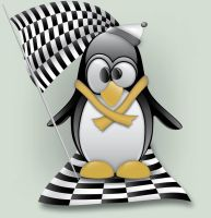 Penguin with Checkered Flag by acmmech