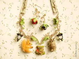 The Fairy Forest Necklace and Earrings by allim-lip