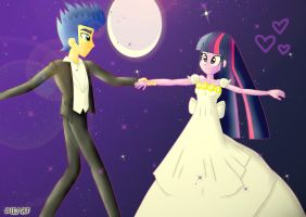 Twilight x Flash Sentry dance in the full moon by Dieart77