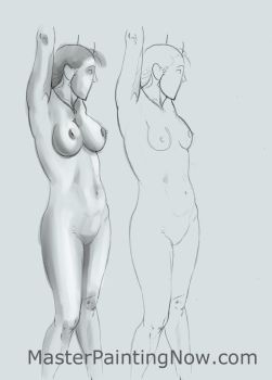 How to draw breasts with arms raised 3/4 view by discipleneil777
