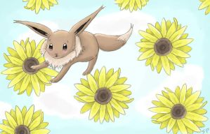 Sunflower Eevee by MusicMew