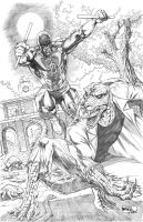 Daredevil vs. The Lizard commission by SheldonGoh