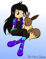 a trainer and her eevee by Sandwich-Anomaly