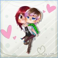 Chibi Couple Artrade: Tachan by Pinepuruu