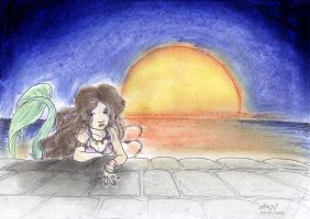 Merleia and sunset behind her by DasTenna