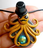 Octopus with Top Hat and Mustache necklace by Brisbykins