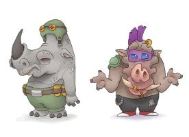 Bebop and Rocksteady Fun Size by MurderousAutomaton