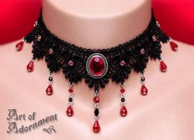 Sanguine Courtesan Lace Choker by ArtOfAdornment