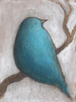 Blue Bird on Branch by SethFitts