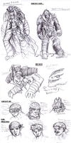 GOW multiple character sketch by LaDarkA117