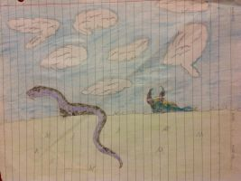 Pythor gazing at the clouds with a sleeping Willow by MagicPhoenixstonedra