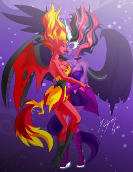 Comission - Demon Sunset X Midnight Sparkle by Shinta-Girl