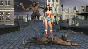 Wonder Woman Fights the Minotaur 5 by MickLee99