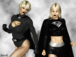 Evil Power Girl and Supergirl by hotrod5