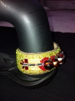 Red Green Bead Embroidered Bracelet by sueswinyard