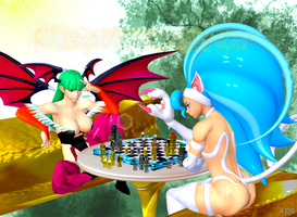 Felicia and Morrigan Playing Chess by NekoHybrid