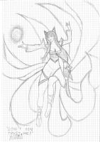 Ahri, the nine tailed fox by wardamo