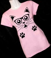 Nerdy Cat Tee by rainbowdreamfactory