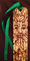 Pyrography Greenman Bookmark by BumbleBeeFairy