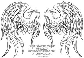Soft folded wings linework by lavonne