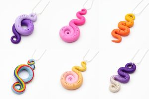 My Little Pony themed Spiral necklaces by FrozenNote