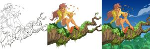 Girl On a Tree x3 by ZEBES