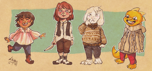 What I wore: Frisk, Chara, Asriel and Monster Kid by Dauverney
